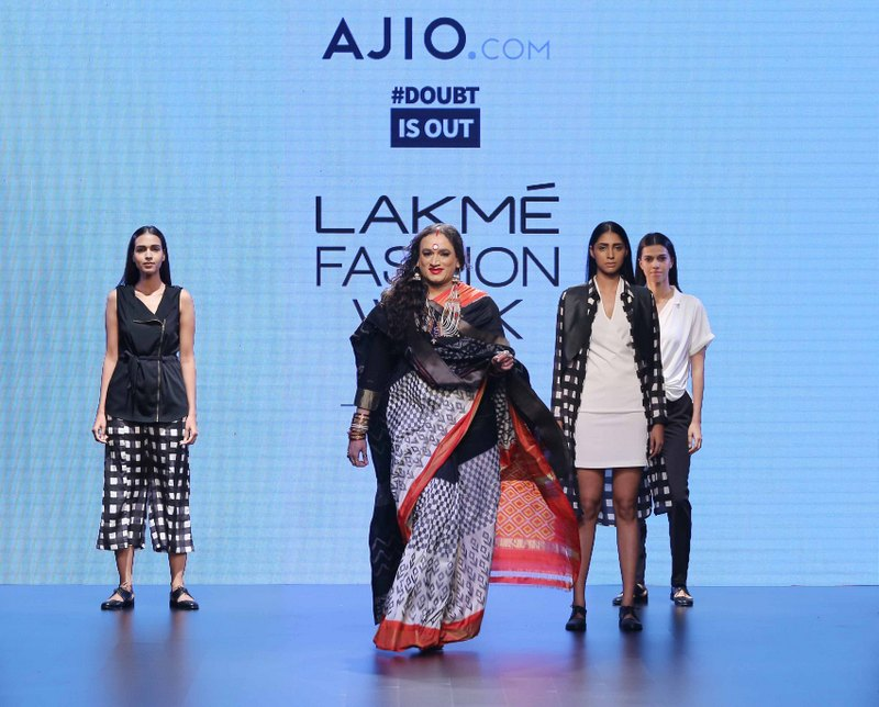Laxmi Narayan Tripathi walks for Doubtisout at LFW SR 2016 – Copy (1)